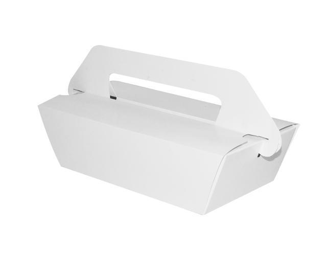 新艺介绍的这是一款一体式矩形便携式包装盒,该盒体只需简单两个动作即可完成一个手提式包装盒。非常适用于餐饮外带食物的打包,经济实用。  结构平面图参考:  本文由新艺酒包装官方发布,转载请注明出处:(新艺酒包装-www.xyjbz.cn)